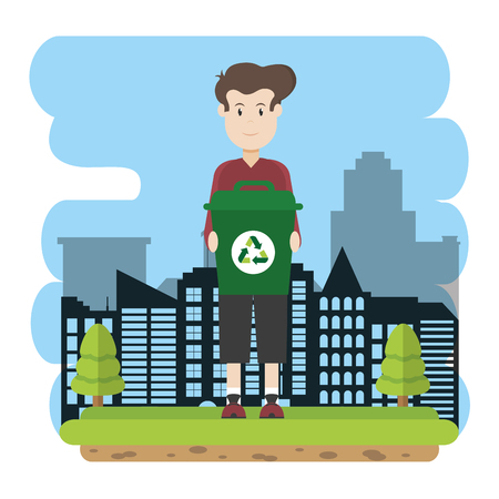 Man with recycle can