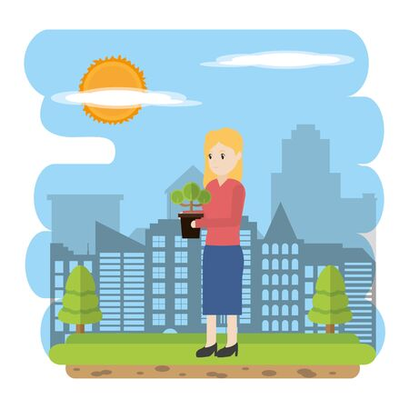 Woman plating a tree in the city Vector illustration. Illustration