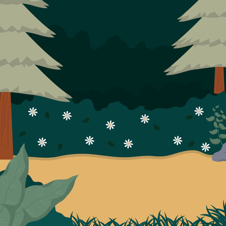 Beautiful forest landscape cartoon illustration