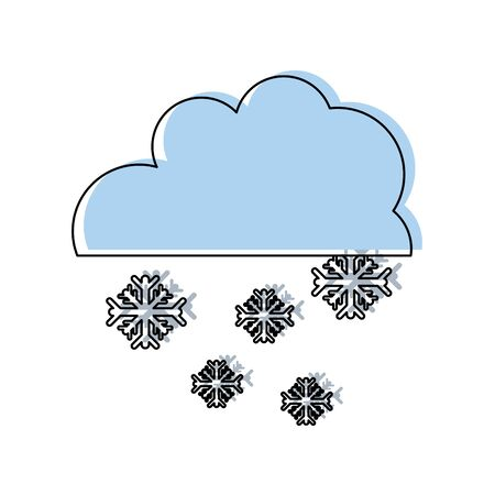 moved color cloud with snowing cold nature weather Vector illustration.