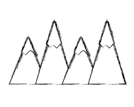 grunge natural mountains snowy season weather Vector illustration. Stock Illustratie