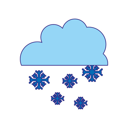 duo color cloud with snowing cold nature weather vector illustration Çizim
