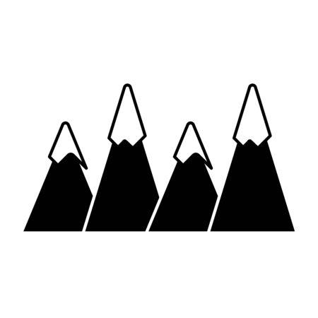 silhouette natural mountains snowy season weather vector illustration Stock Illustratie