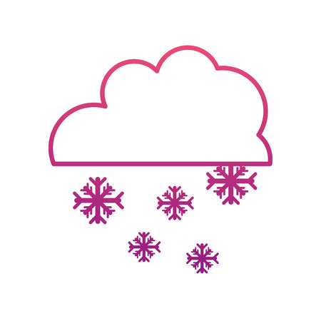 degraded line cloud with snowing cold nature weather vector illustration Çizim