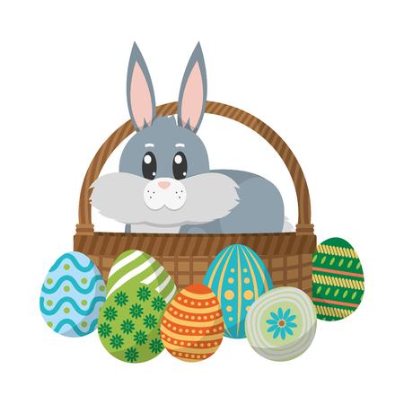 rabbit animal inside hamper and eggs easter vector illustration