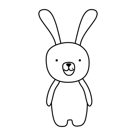 line cute cartoon rabbit male animal vector illustration