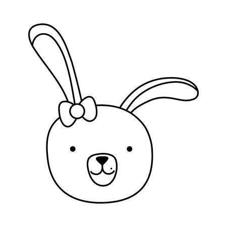 line cartoon rabbit female head with ribbon bow vector illustration 일러스트