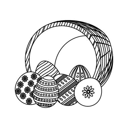 line eggs easter decoration and hamper design vector illustration Illustration