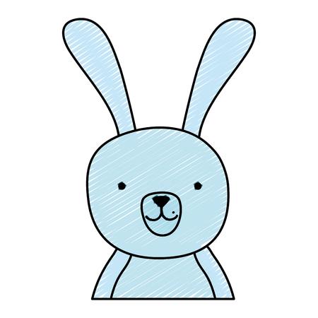doodle nice cartoon rabbit male animal vector illustration