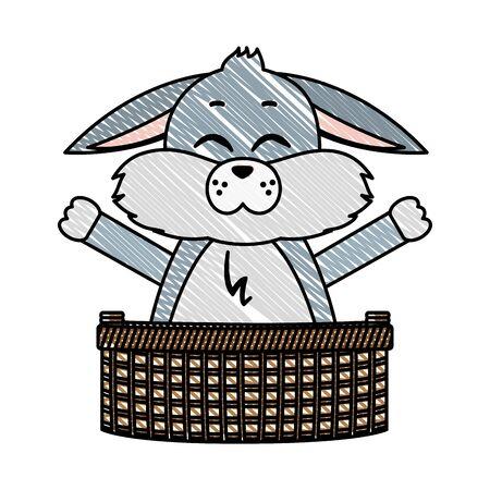 doodle rabbit animal with open hands inside hamper Illustration
