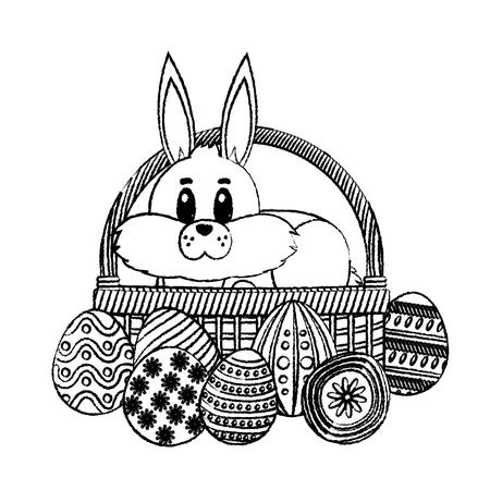 grunge rabbit animal inside hamper and eggs easter vector illustration Illustration