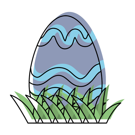 moved color eggs easter with figures decoration style Stock Illustratie