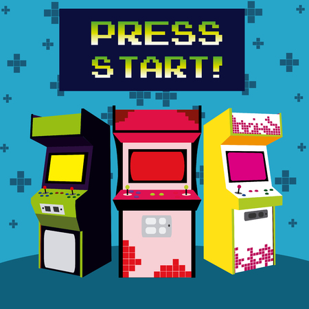 Press start vintage arcade design 矢量图像