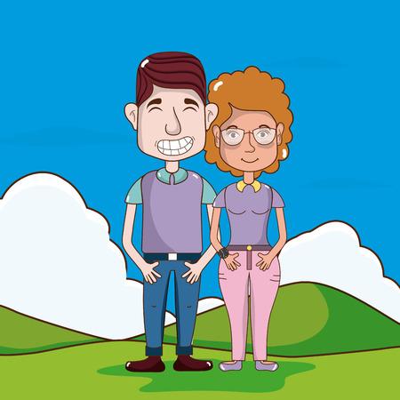 Cute and funny couple cartoon