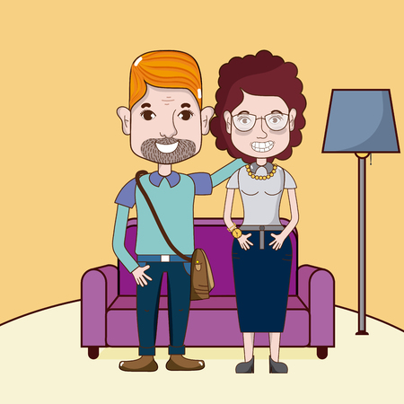 Cute and funny couple cartoons Illustration