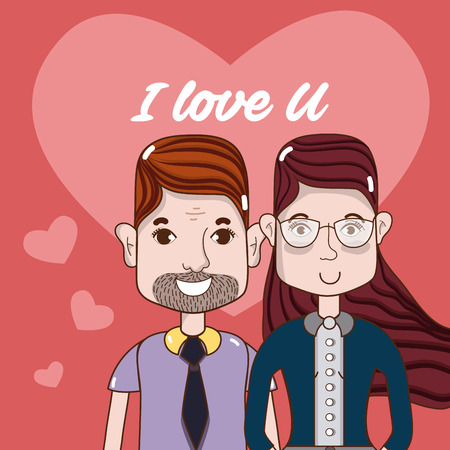 I love you card with cute and funny couple cartoons vector illustration graphic design