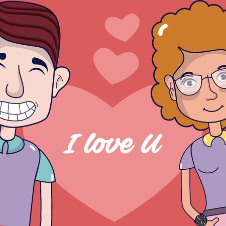 I love you card couple cartoon Illustration