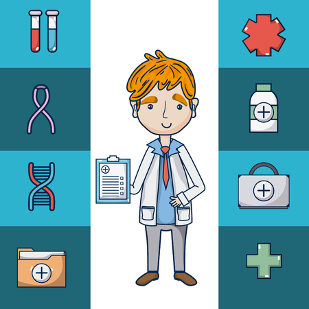 Doctor with medical symbols cartoon vector illustration graphic design Ilustracja