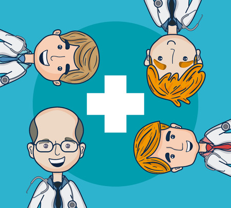 Doctors cartoons collection over blue cross background vector illustration graphic design Illustration