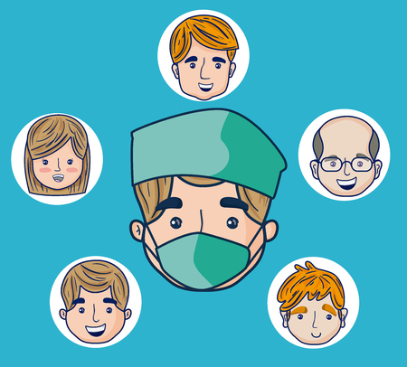 Doctor cartoon with patients faces over blue background vector illustration graphic design