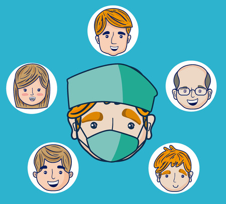 Doctor cartoon with patients faces Vector illustration. Illustration