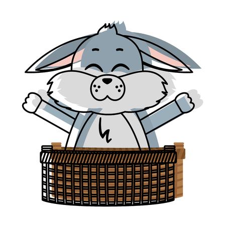 Moved color rabbit animal with open hands inside hamper Illustration