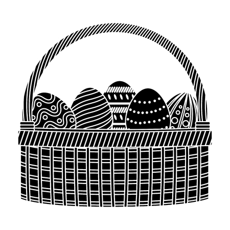 silhouette eggs easter decoration inside hamper style vector illustration