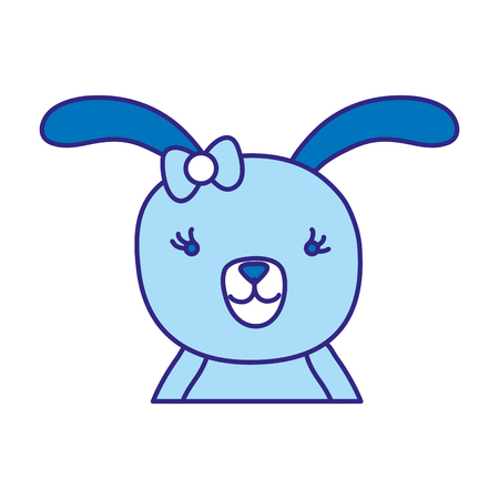 duo color cartoon rabbit female with ribbon bow vector illustration