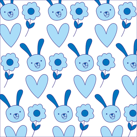 Duo color rabbit head with flower and heart background vector illustration.