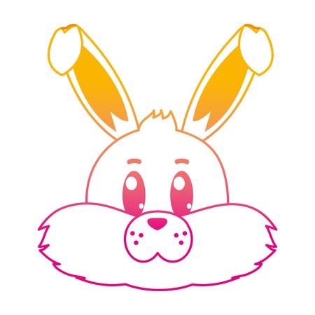 Degraded line tender wild rabbit head animal vector illustration. Illustration