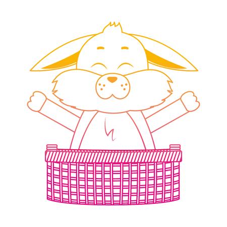 Degraded line rabbit animal with open hands inside hamper vector illustration. Illustration