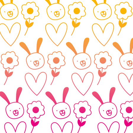 degraded line rabbit head with flower and heart background Vector illustration.
