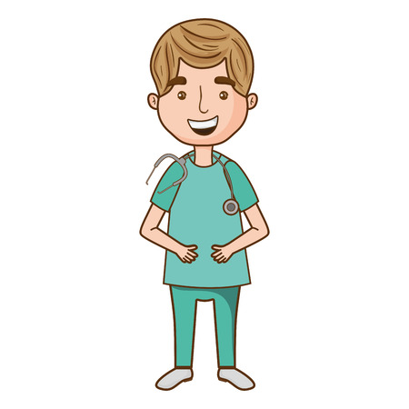 man doctor with medical uniform and hairstyle Vector illustration.