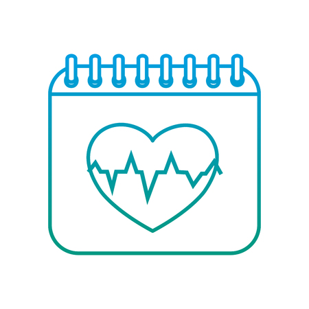 Degraded line calendar with heartbeat to organize information event. Illustration