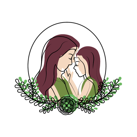 Mother with her daughter and leaves branches decoration illustration.