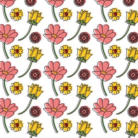 Colorful flowers with petals background decoration.