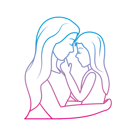 Degraded line nice mother hugging her daughter in the arms.  イラスト・ベクター素材