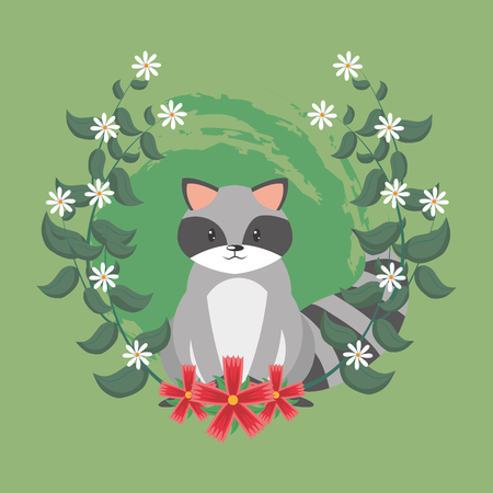 Cute raccoon cartoon with flowers around vector illustration graphic design