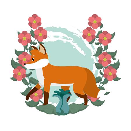 Cute fox cartoon with flowers around vector illustration graphic design