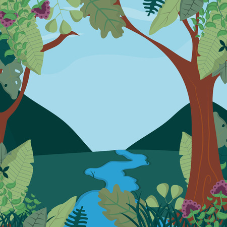 Beautiful forest landscape vector illustration graphic design Ilustração