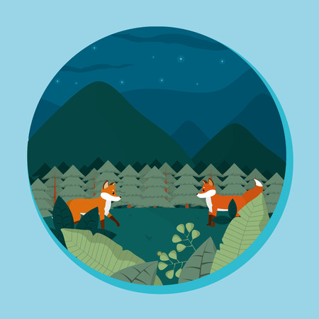 Cute foxes in jungle cartoon round icon vector illustration graphic design