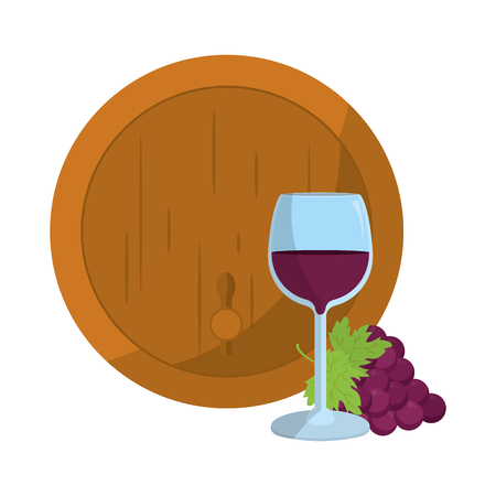 wood barrel with grape fruit and glass Vectores