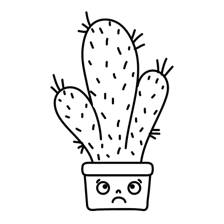 line sad cactus plant inside flowerpot Ilustrace