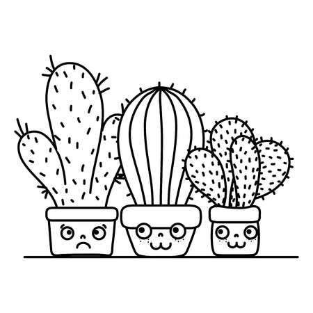 line cactus plants inside flowerpot and facial expression