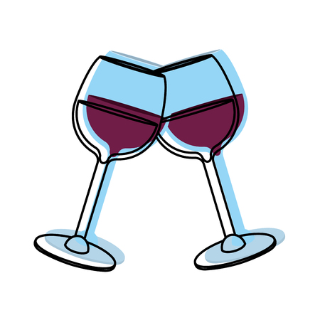 moved color glass with alcohol wine beverage to celebration Illustration