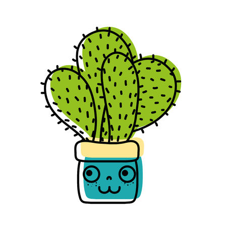 moved color happy cactus plant inside flowerpot