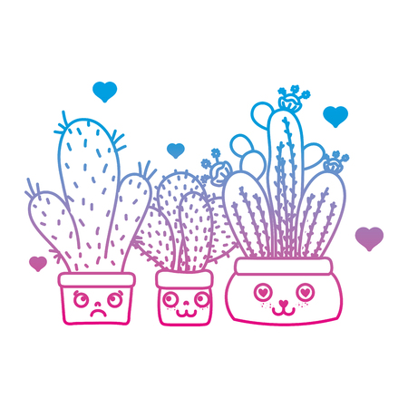 degraded line facial expression cactus plant inside flowerpot