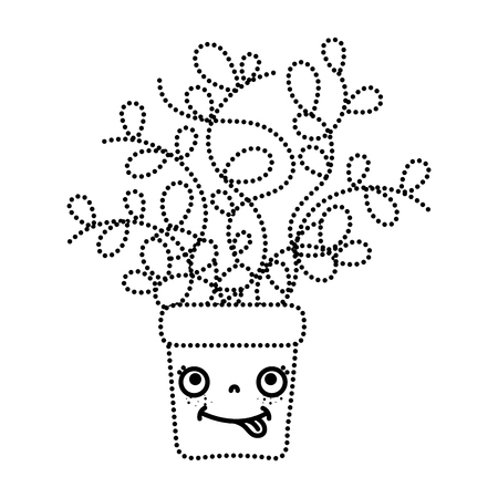 dotted shape funny plant with leaves inside flowerpot Ilustrace
