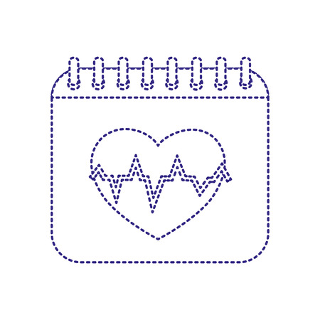 dotted shape calendar with heartbeat to organize information event