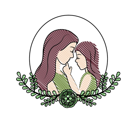 doodle mother with her daughter and leaves branches decoration vector illustration